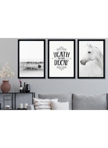 Çerçeve Home  Death  Before Decaf Siyah Çerçeve Tablo Seti Siyah